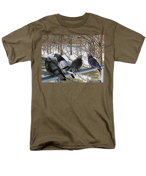 Winter Pigeon Party Men's T-Shirt  (Regular Fit) by Nina Silver