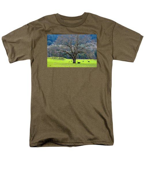 Winter Tree With Cows By The Umpqua River Men's T-Shirt  (Regular Fit) by Michele Avanti
