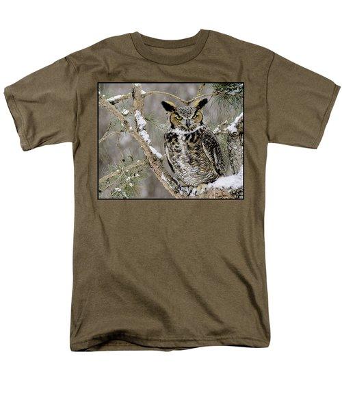 Wise Old Great Horned Owl Men's T-Shirt  (Regular Fit) by LeeAnn McLaneGoetz McLaneGoetzStudioLLCcom
