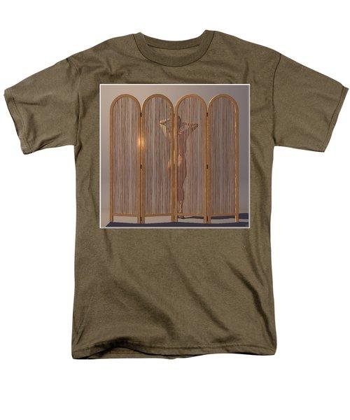 Men's T-Shirt  (Regular Fit) featuring the digital art Woman Behind Screen... by Tim Fillingim