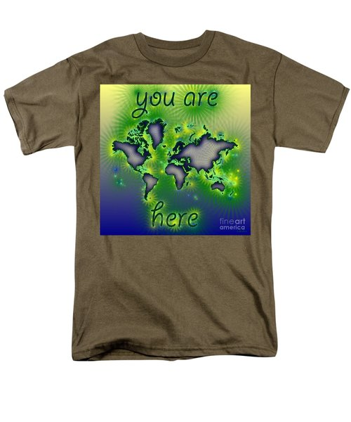 World Map You Are Here Amuza In Blue Yellow And Green Men's T-Shirt  (Regular Fit) by Eleven Corners