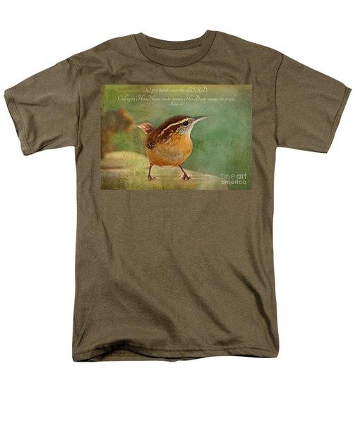 Wren With Verse Men's T-Shirt  (Regular Fit) by Debbie Portwood