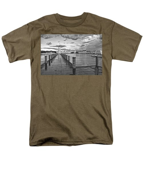 Yacht And Beach Lighthouse In Black And White Walt Disney World Men's T-Shirt  (Regular Fit) by Thomas Woolworth