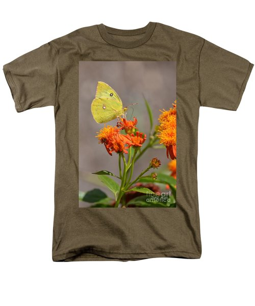 Men's T-Shirt  (Regular Fit) featuring the photograph Yellow Sulphur Butterfly by Debra Martz