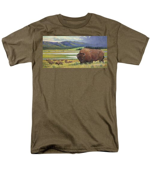 Men's T-Shirt  (Regular Fit) featuring the painting Yellowstone Bison by Rob Corsetti
