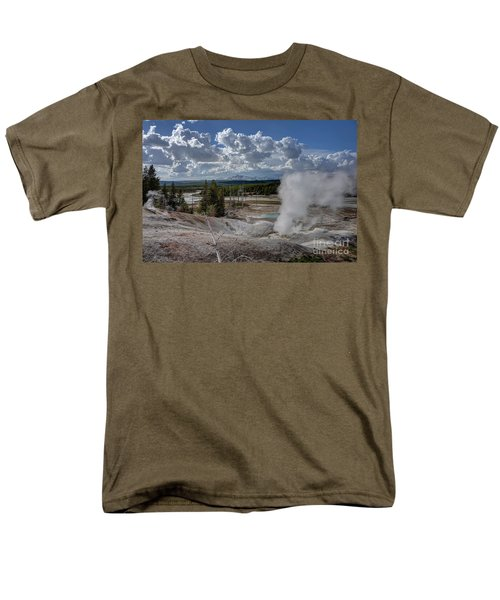 Men's T-Shirt  (Regular Fit) featuring the photograph Yellowstone's Norris Geyser Basin by Bill Gabbert
