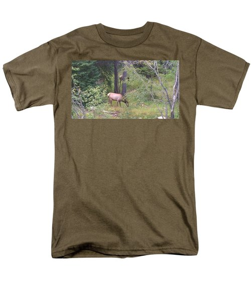 Men's T-Shirt  (Regular Fit) featuring the photograph Young Elk Grazing by Fortunate Findings Shirley Dickerson