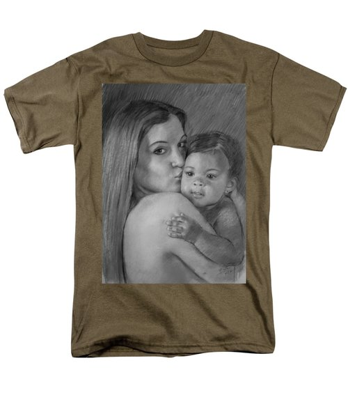 Men's T-Shirt  (Regular Fit) featuring the drawing Young Mother With Her Baby by Viola El