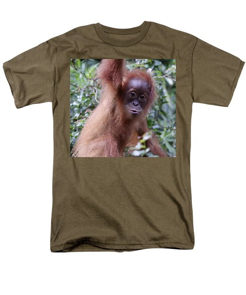 Men's T-Shirt  (Regular Fit) featuring the pyrography Young Orangutan Kiss by Shoal Hollingsworth