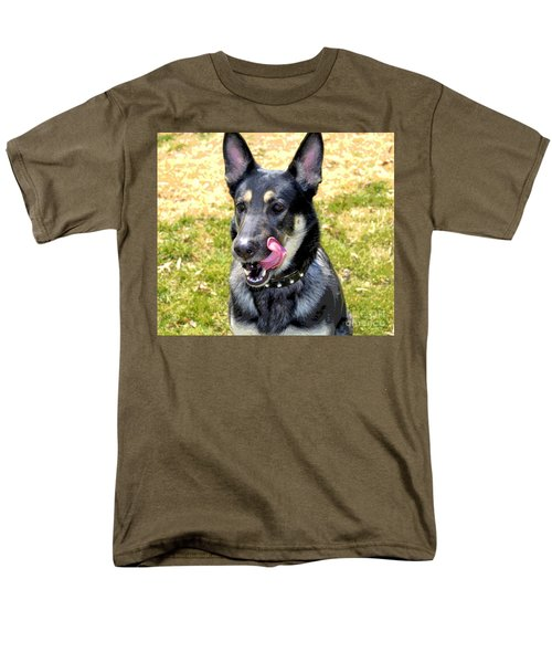 Men's T-Shirt  (Regular Fit) featuring the photograph German Shepherd - Yum - Luther Fine Art by Luther Fine Art