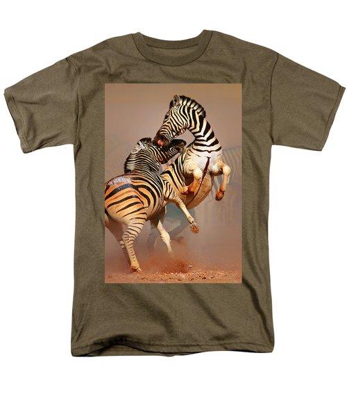 Zebras Fighting Men's T-Shirt  (Regular Fit) by Johan Swanepoel