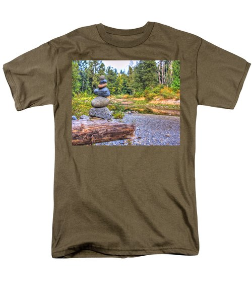 Men's T-Shirt  (Regular Fit) featuring the photograph Zen Balanced Stones On A Tree by Eti Reid