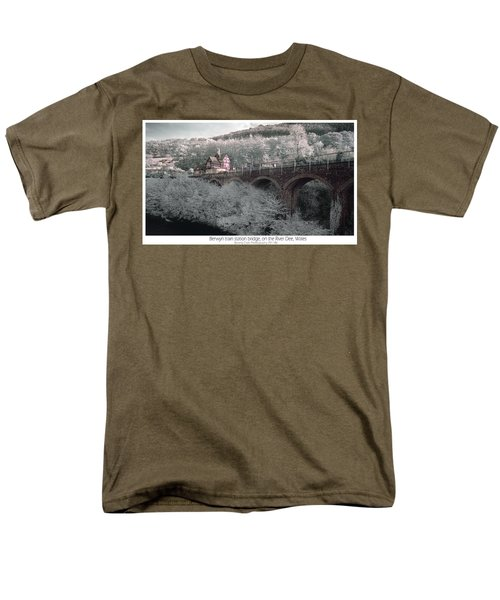 Men's T-Shirt  (Regular Fit) featuring the photograph  Infrared Train Station Bridge by Beverly Cash