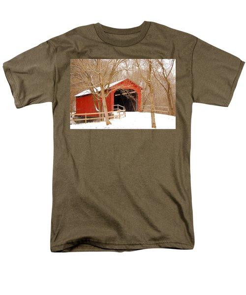 Men's T-Shirt  (Regular Fit) featuring the photograph  Sandy Creek Cover Bridge  by Peggy Franz