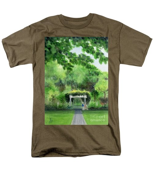 Men's T-Shirt  (Regular Fit) featuring the painting the garden at the wellers carriage house in Saline  Michigan 1 by Yoshiko Mishina