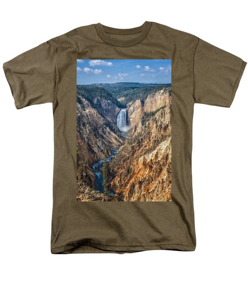 Yellowstone Lower Falls Men's T-Shirt  (Regular Fit) by Ronald Lutz