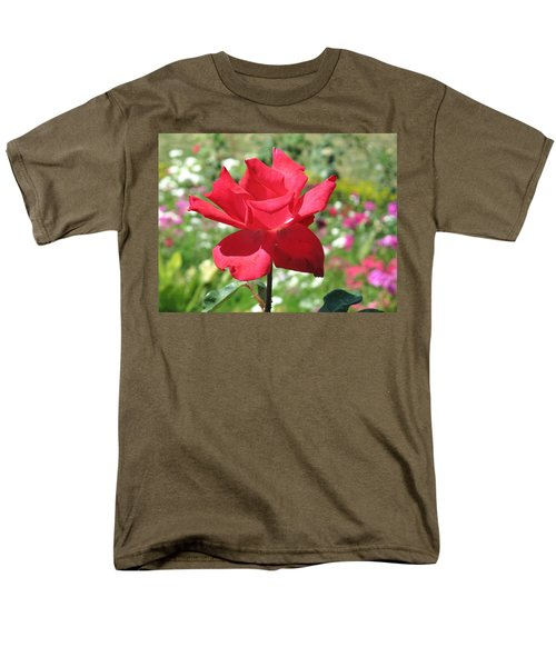 Men's T-Shirt  (Regular Fit) featuring the photograph A Beautiful Red Flower Growing At Home by Ashish Agarwal