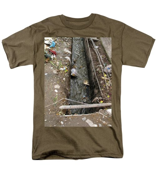 Men's T-Shirt  (Regular Fit) featuring the photograph A Dirty Drain With Filth All Around It Representing A Health Risk by Ashish Agarwal