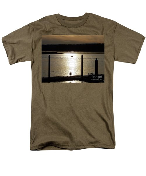 Men's T-Shirt  (Regular Fit) featuring the photograph A Lone Boat At Sunset by Chalet Roome-Rigdon