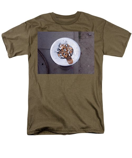 Men's T-Shirt  (Regular Fit) featuring the photograph A Lot Of Cigarettes Stubbed Out At A Garbage Bin by Ashish Agarwal