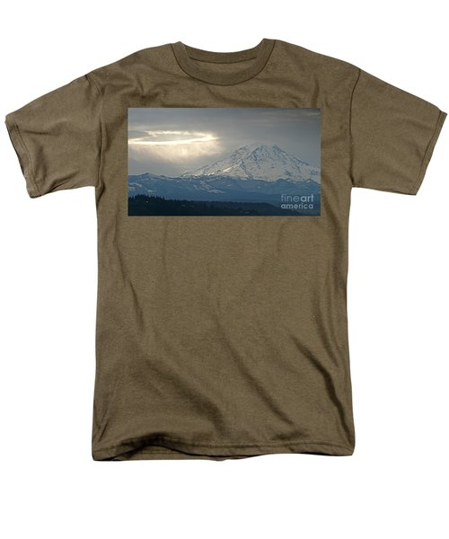 Men's T-Shirt  (Regular Fit) featuring the photograph A Ring Of Bright Light Beside Mount Rainier by Sean Griffin