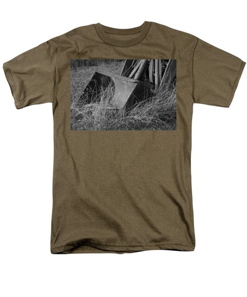 Men's T-Shirt  (Regular Fit) featuring the photograph Antique Tractor Bucket In Black And White by Jennifer Ancker