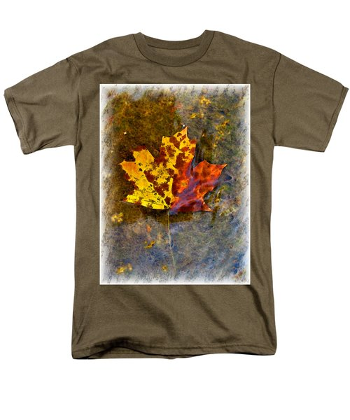 Men's T-Shirt  (Regular Fit) featuring the digital art Autumn Maple Leaf In Water by Debbie Portwood