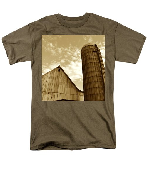 Barn And Silo In Sepia Men's T-Shirt  (Regular Fit) by JD Grimes