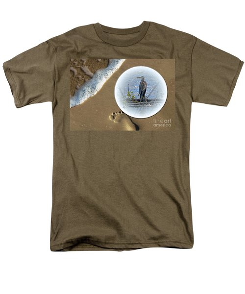 Beached Heron Men's T-Shirt  (Regular Fit) by Sue Stefanowicz