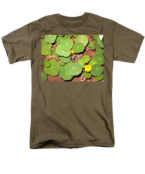 Beautiful Round Green Leaves Of A Plant With Orange Flowers Men's T-Shirt  (Regular Fit) by Ashish Agarwal