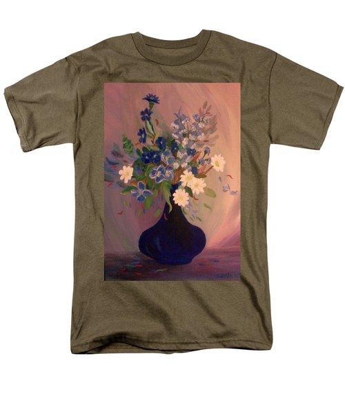 Blue Flowers 2 Men's T-Shirt  (Regular Fit) by Christy Saunders Church