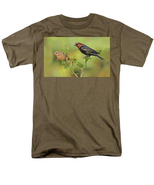 Brown Headed Cowbird Pair Men's T-Shirt  (Regular Fit) by Dave Mills