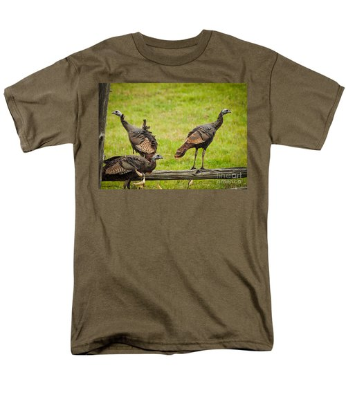 Men's T-Shirt  (Regular Fit) featuring the photograph Bunch Of Turkeys by Cheryl Baxter