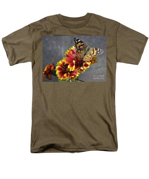 Men's T-Shirt  (Regular Fit) featuring the photograph Butterfly On A Gaillardia by Verana Stark