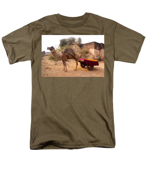 Men's T-Shirt  (Regular Fit) featuring the photograph Camel Yoked To A Decorated Cart Meant For Carrying Passengers In India by Ashish Agarwal