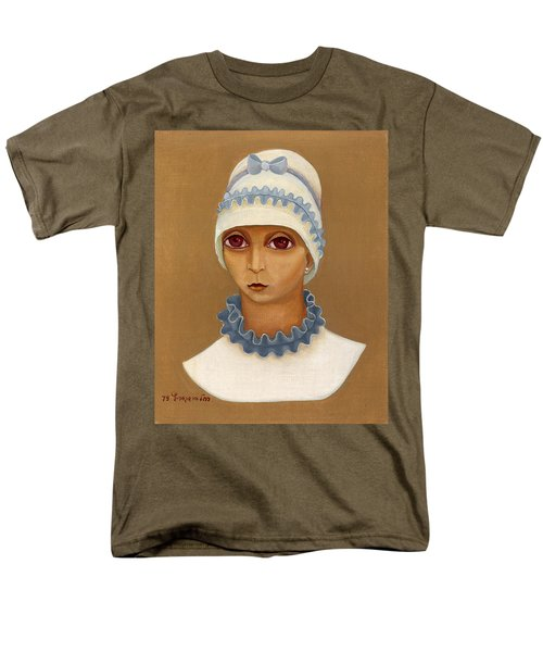 Colorful Young Woman Brown Eyes Blue White Hat Collar  With Ribbon Small Lips Men's T-Shirt  (Regular Fit) by Rachel Hershkovitz