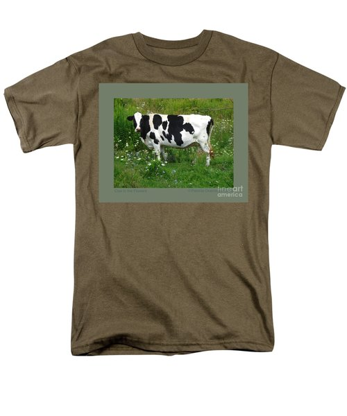 Cow In The Flowers Men's T-Shirt  (Regular Fit) by Patricia Overmoyer