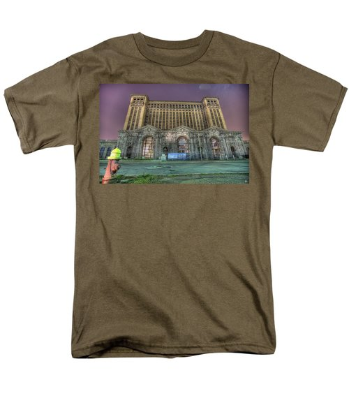 Detroit's Michigan Central Station - Michigan Central Depot Men's T-Shirt  (Regular Fit) by Nicholas  Grunas