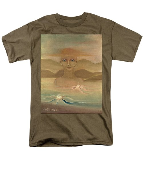 Face From Nature Desert Landscape Abstract Fantasy With Flowers Blue Eyes Yellow Cloud  In Sky  Men's T-Shirt  (Regular Fit) by Rachel Hershkovitz