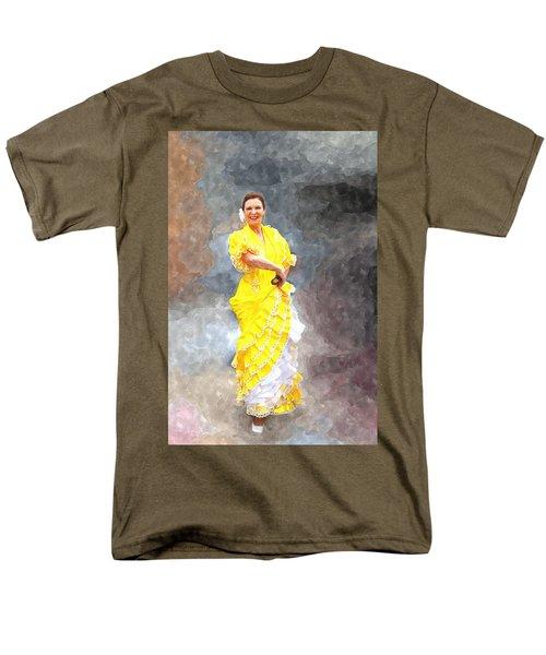 Men's T-Shirt  (Regular Fit) featuring the photograph Flamenco Dancer In Yellow by Davandra Cribbie