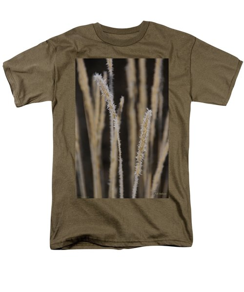 Men's T-Shirt  (Regular Fit) featuring the photograph Ice Crystals On Tall Grass by Mick Anderson
