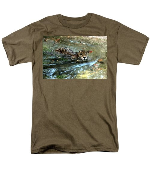 Men's T-Shirt  (Regular Fit) featuring the photograph Jaguar In For A Swim by Kathy  White