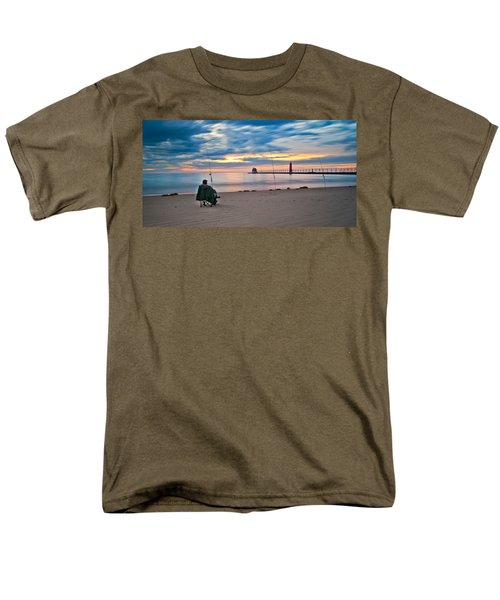Lake Michigan Fishing Men's T-Shirt  (Regular Fit) by Larry Carr