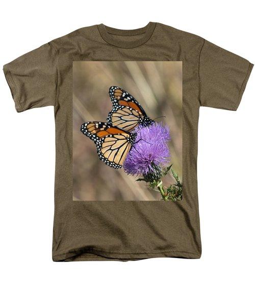 Men's T-Shirt  (Regular Fit) featuring the photograph Monarch Butterflies On Field Thistle Din162 by Gerry Gantt
