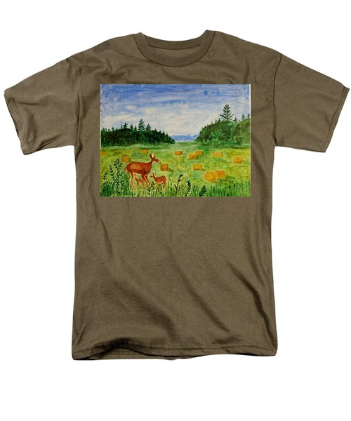Men's T-Shirt  (Regular Fit) featuring the painting Mother Deer And Kids by Sonali Gangane