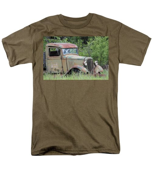 Men's T-Shirt  (Regular Fit) featuring the photograph Abandoned Truck In Field by Athena Mckinzie