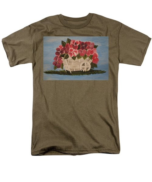 Pink Flowers In A Wagon Basket Men's T-Shirt  (Regular Fit) by Christy Saunders Church