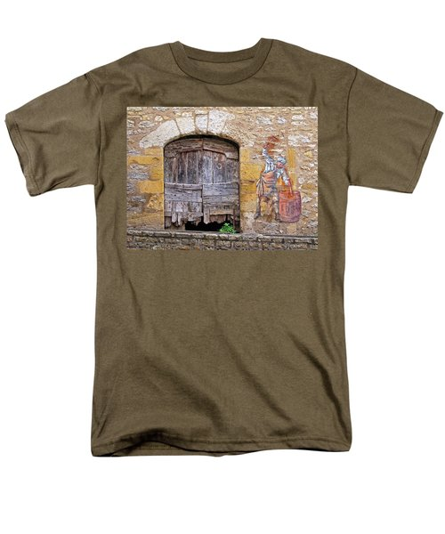 Men's T-Shirt  (Regular Fit) featuring the photograph Provence Window And Wall Painting by Dave Mills