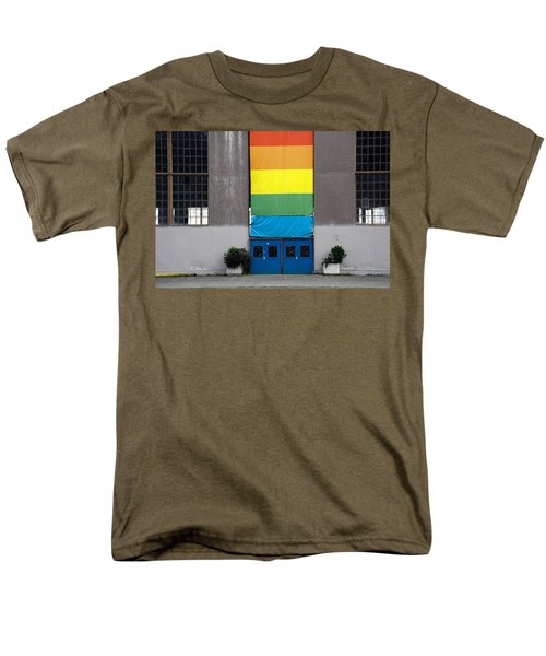 Men's T-Shirt  (Regular Fit) featuring the photograph Rainbow Banner Building by Kathleen Grace