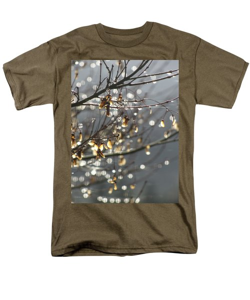 Men's T-Shirt  (Regular Fit) featuring the photograph Raindrops And Leaves by Katie Wing Vigil